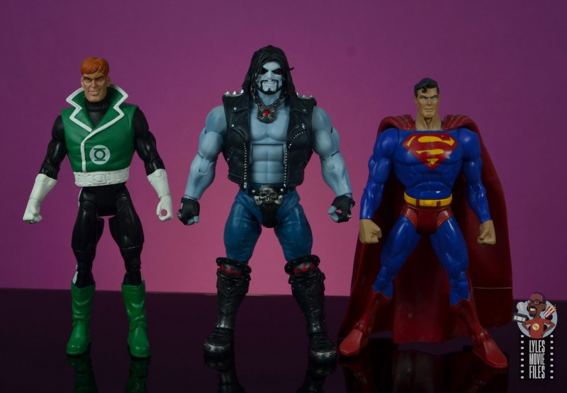 dc multiverse lobo figure review - scale with dc classics guy gardner and dcsh superman