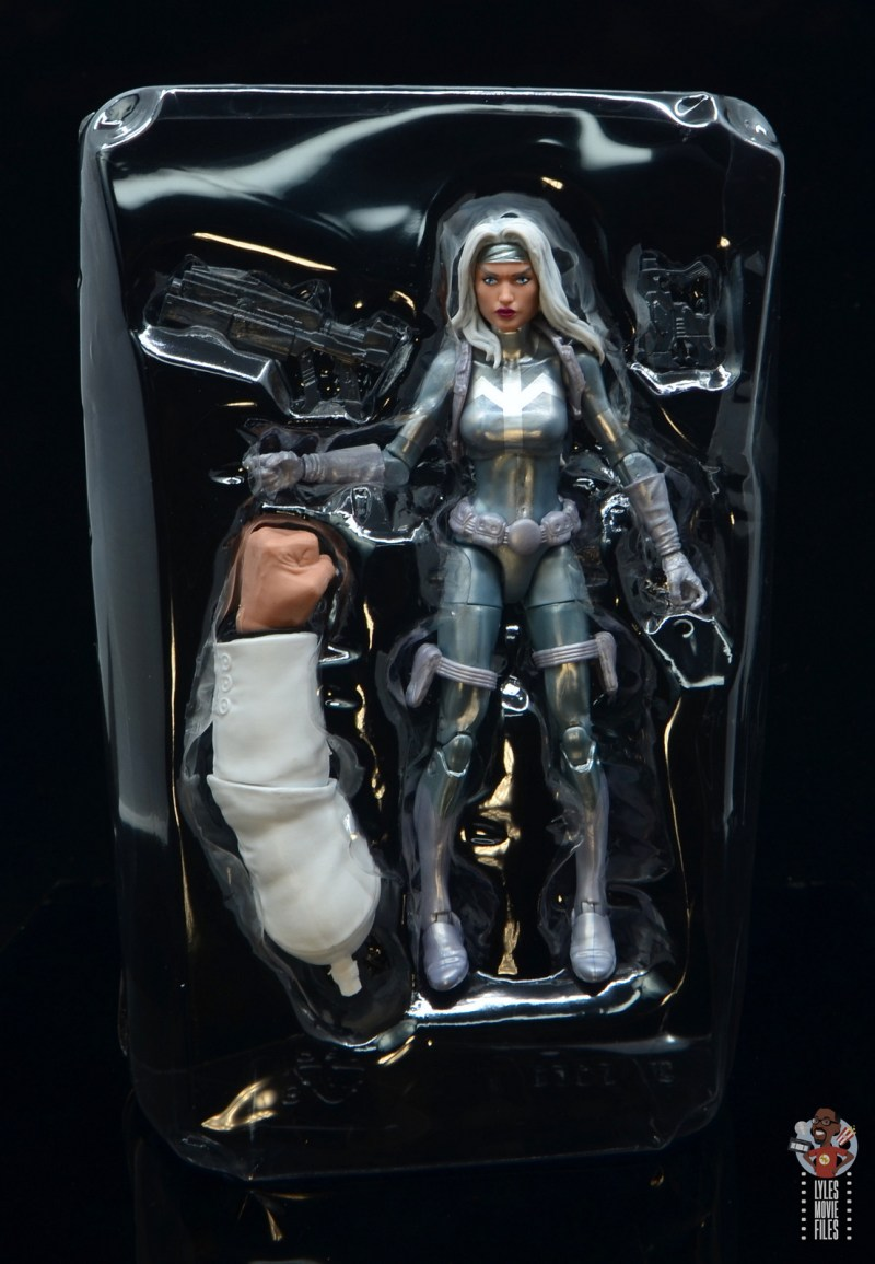 marvel legends silver sable figure review - inner package with figure