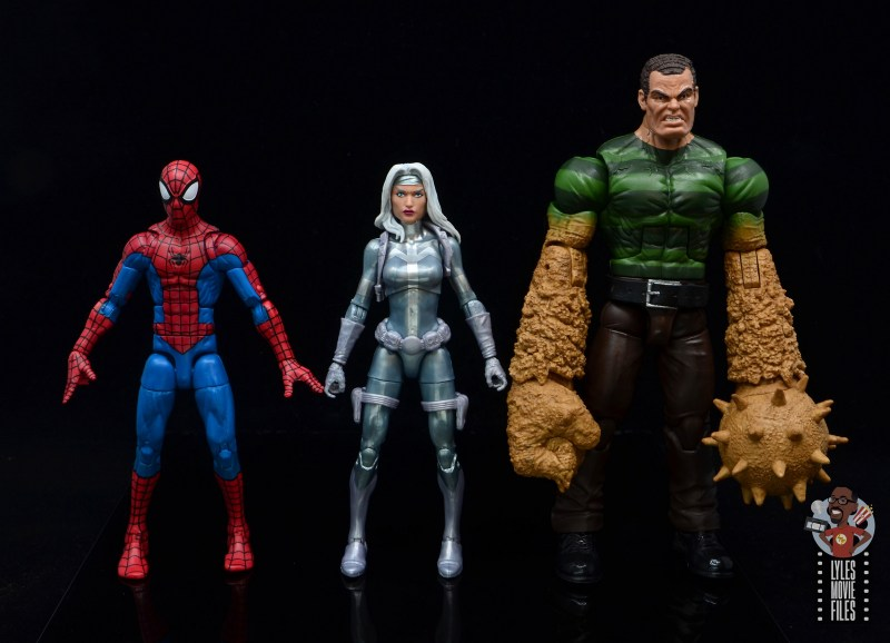 marvel legends silver sable figure review - scale with spider-man and sandman