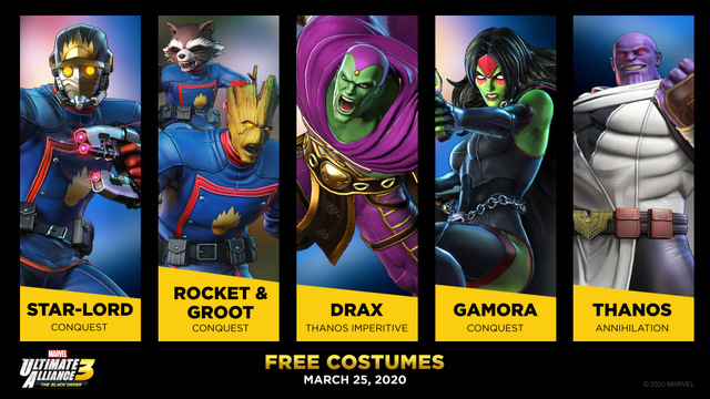 marvel ultimate alliance 3 guardians of the galaxy comic costumes skins