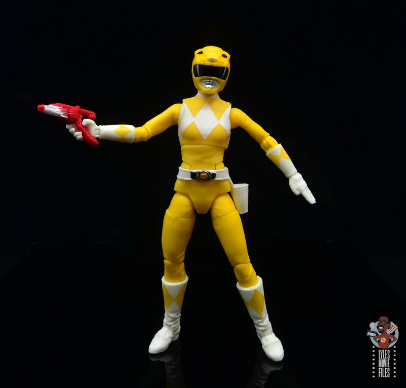 power rangers lightning collection mighy morphin yellow ranger figure review - wide stance with blaster up