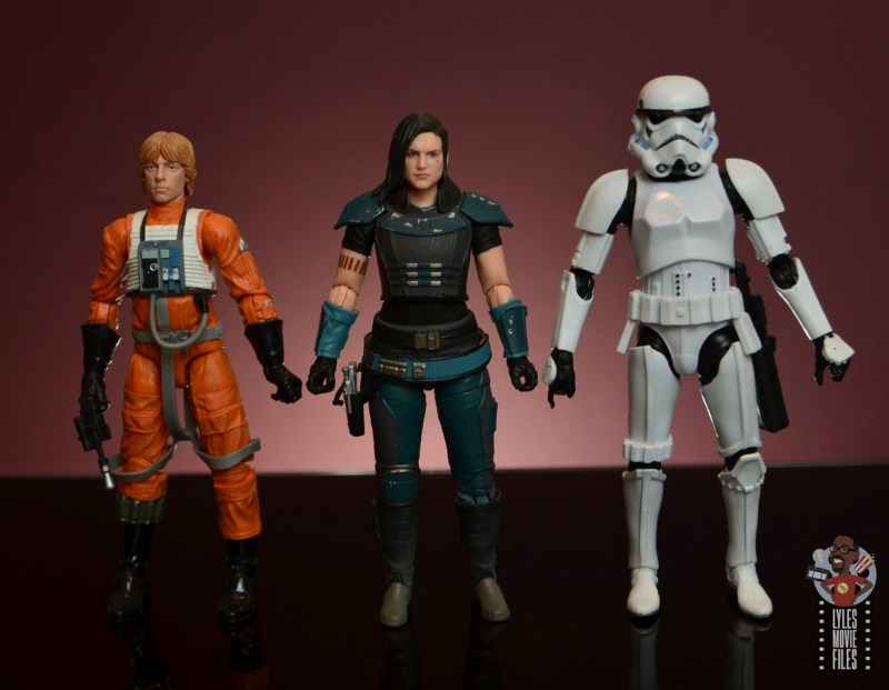 star wars the black series cara dune figure review - scale with luke skywalker and stormtrooper