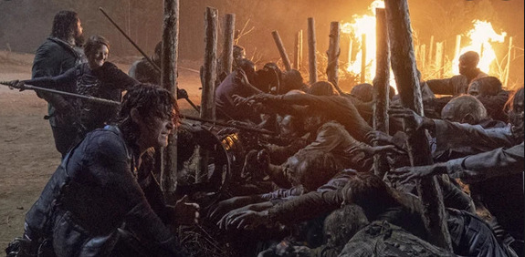 the walking dead walk with us review - daryl and jerry fighting walkers at hilltop