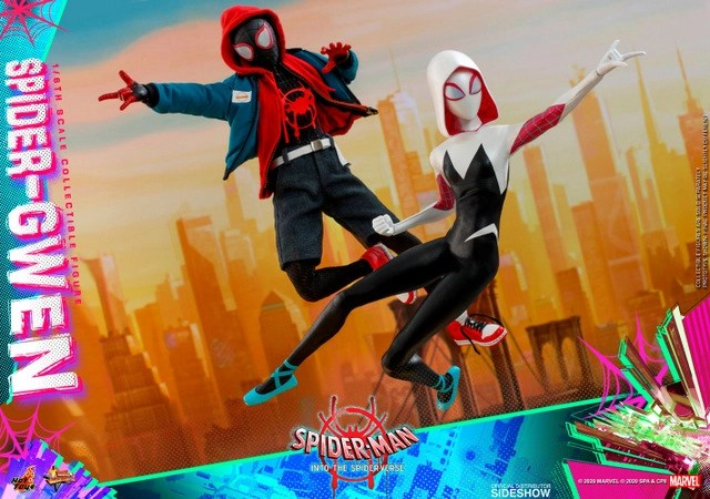 hot toys spider-man into the spider-verse spider-gwen figure -battle ready with miles