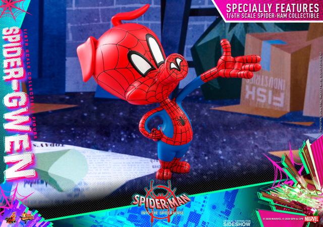 hot toys spider-man into the spider-verse spider-gwen figure - spider-ham side