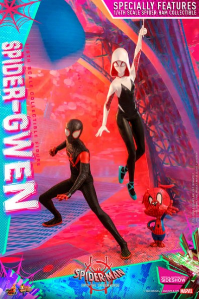 hot toys spider-man into the spider-verse spider-gwen figure - with miles and spider-ham