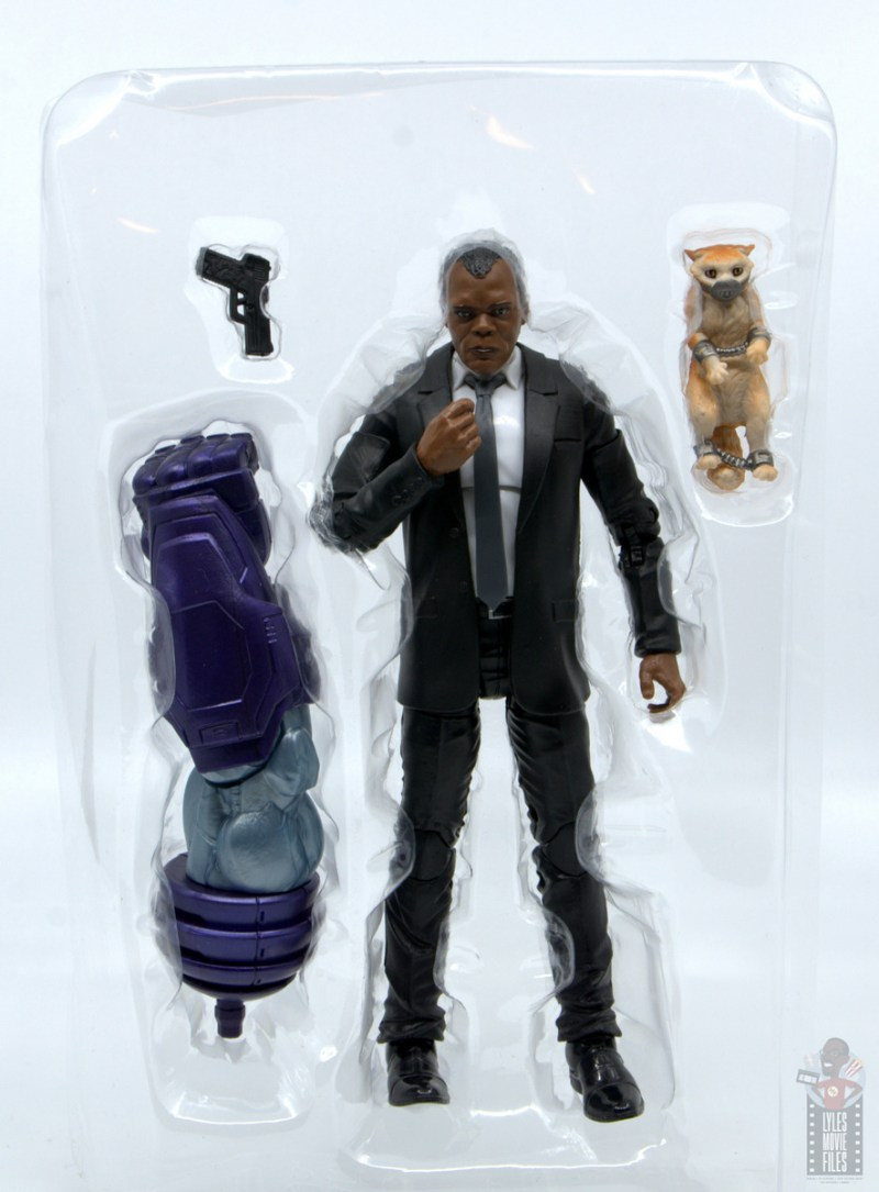 marvel legends captain marvel nick fury figure review - accessories in tray