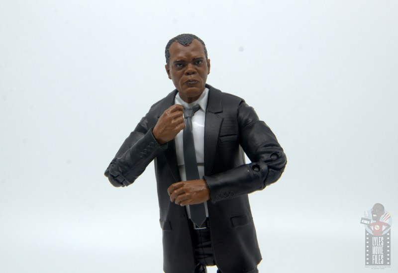 marvel legends captain marvel nick fury figure review - grabbing tie