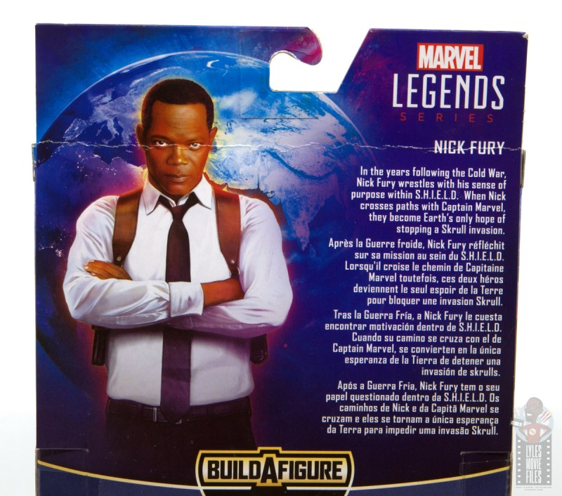 marvel legends captain marvel nick fury figure review - package bio