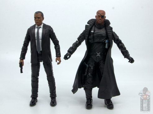 marvel legends captain marvel nick fury figure review - scale with avengers nick fury