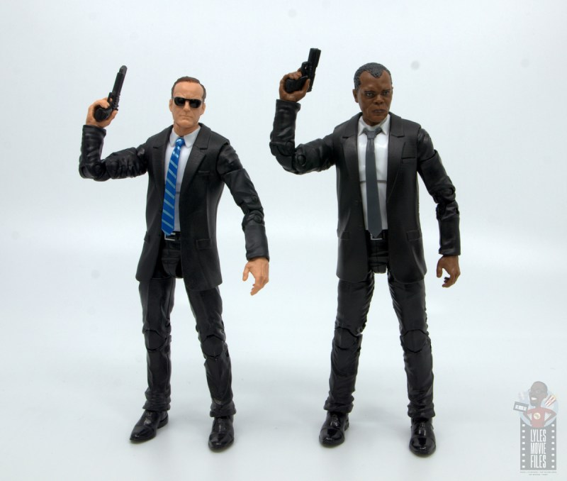 marvel legends captain marvel nick fury figure review - with agent coulson raising guns