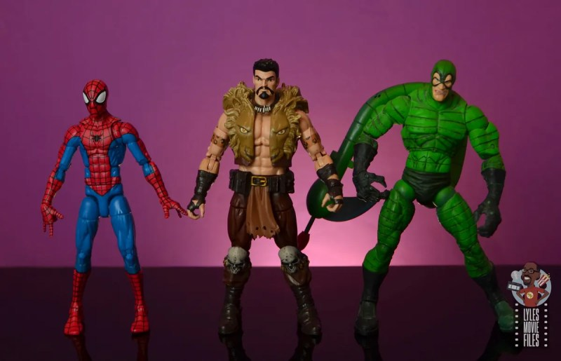 marvel legends kraven figure review - scale with spider-man and scorpion