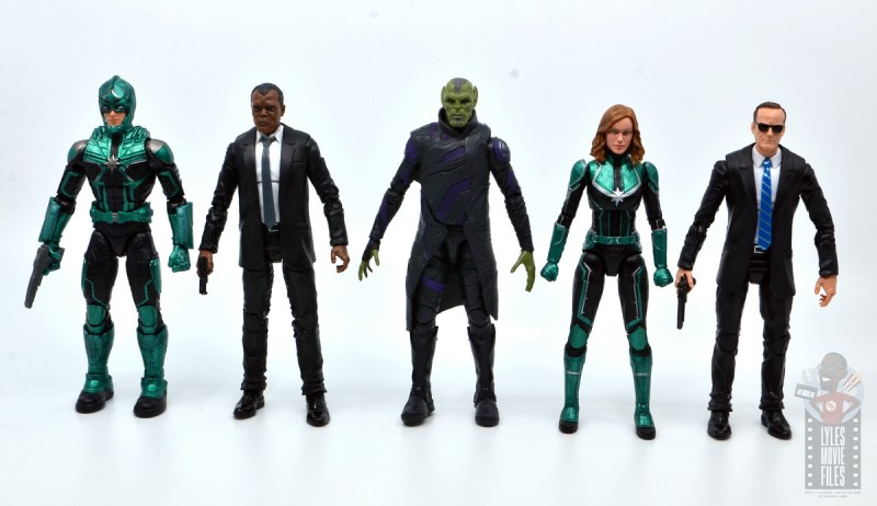 marvel legends talos figure review - scale with yon-rogg, nick fury, captain marvel and agent coulson