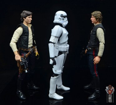 star wars the black series stormtrooper figure review - facing hasbro and sh figuarts han solo