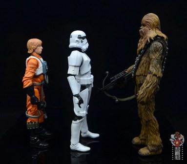 star wars the black series stormtrooper figure review - facing hasbro luke skywalker and sh figuarts chewbacca