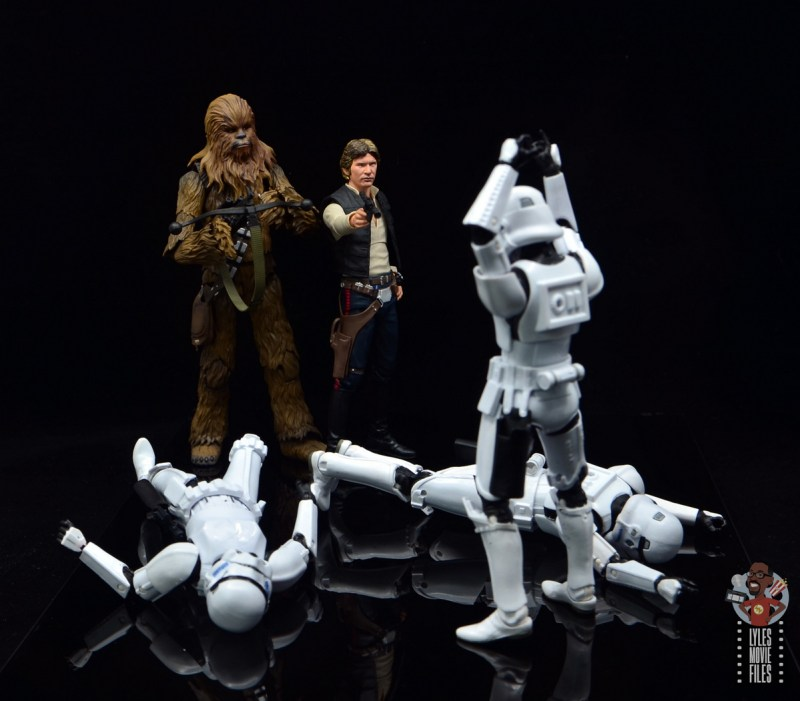 star wars the black series stormtrooper figure review - surrendering to han and chewbacca