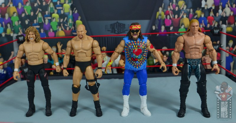 wwe elite #62 dude love figure review - scale with flying brian and triple h-001
