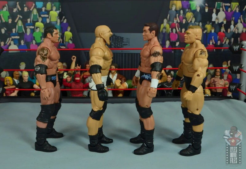 wwe elite #74 goldberg figure review - facing randy orton, batista and brock lesnar