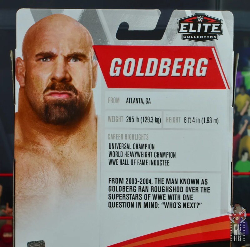 wwe elite #74 goldberg figure review - package bio
