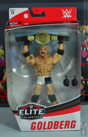 wwe elite #74 goldberg figure review - package front