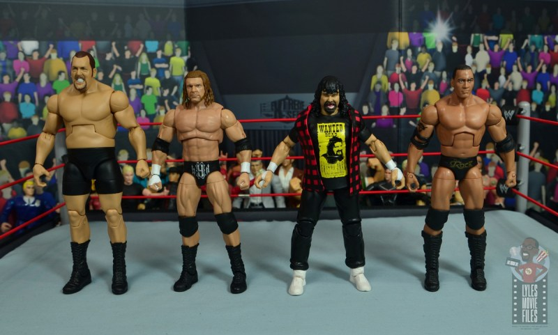 wwe wrestlemania 34 elite mick foley figure review - scale with big show, triple h and the rock