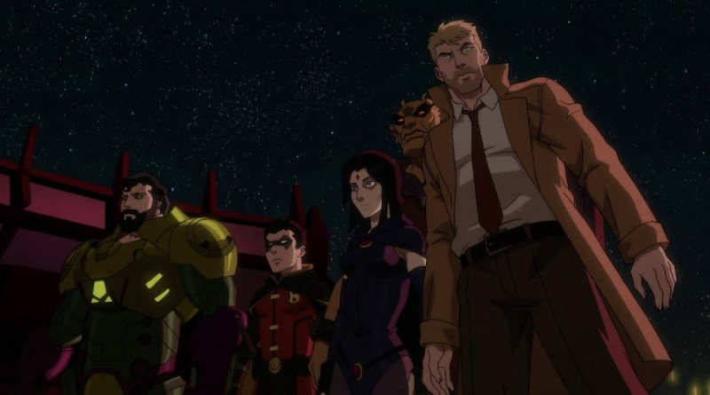 justice league dark apokolips war - superman, robin, raven, etrigan and constantine