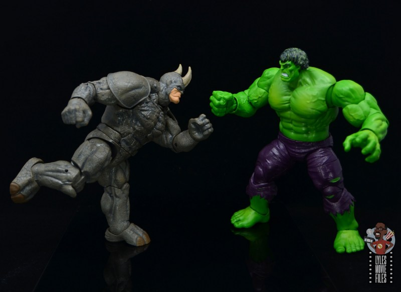 marvel legends build-a-figure rhino figure review - going after the hulk