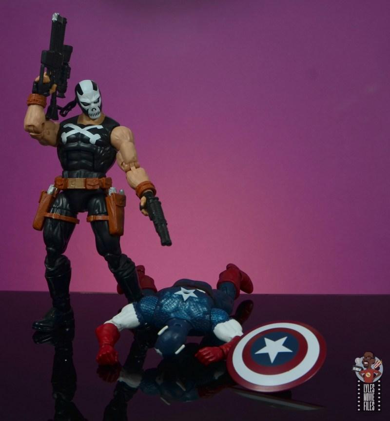 marvel legends crossbones figure review - standing over cap
