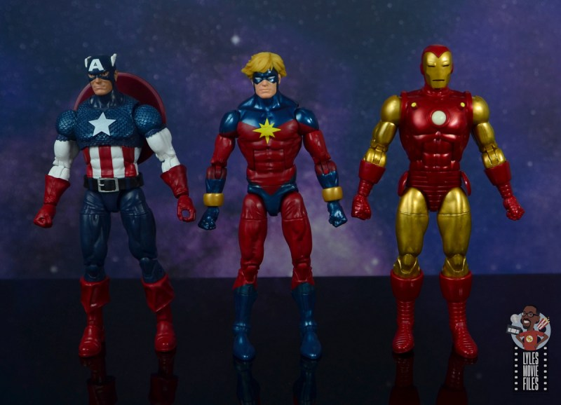 marvel legends mar-vell figure review - scale with captain america and iron man
