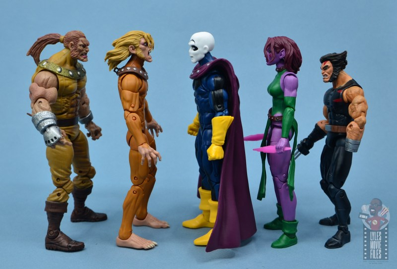 marvel legends morph figure review - facing toy biz sabretooth, wild child, blink and weapon x