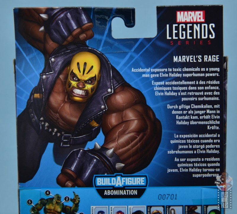 marvel legends rage figure review - package bio