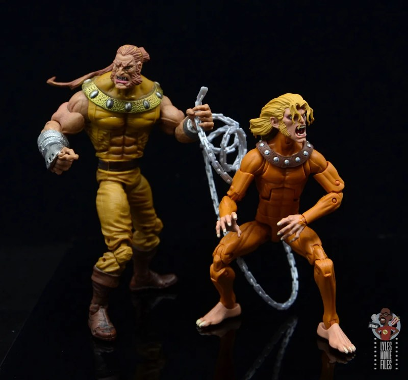 marvel legends wild child figure review - side by side with sabretooth