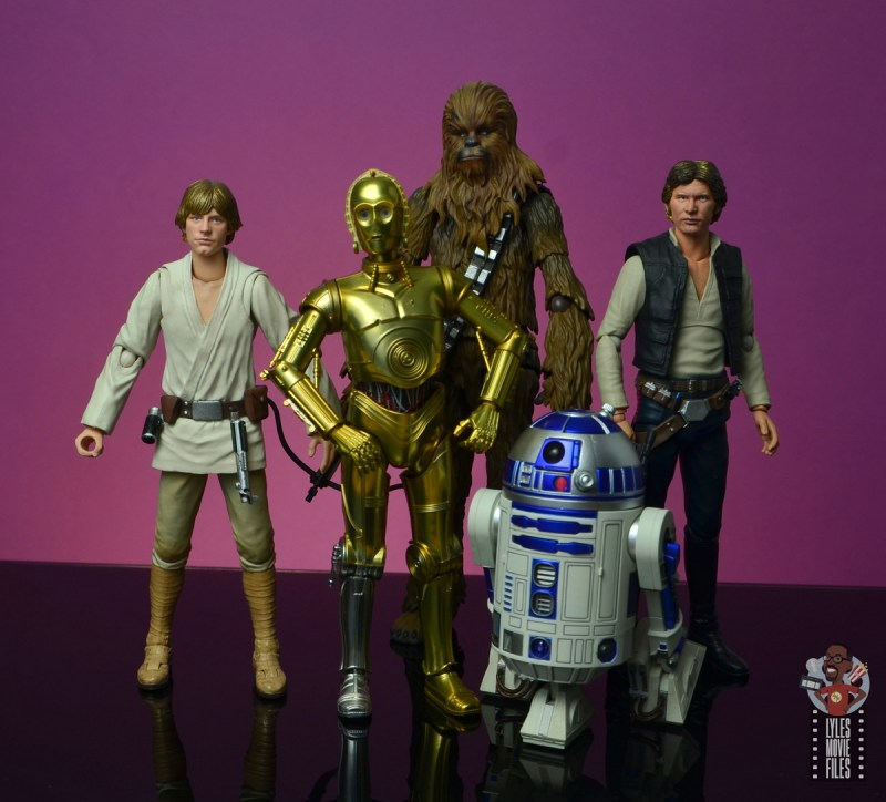sh figuarts star wars c-3p0 figure review - hanging with luke skywalker, chewbacca, han solo and r2d2