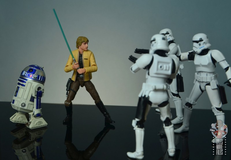 star wars the black series yavin celebration luke skywalker figure review - face off with stormtroopers