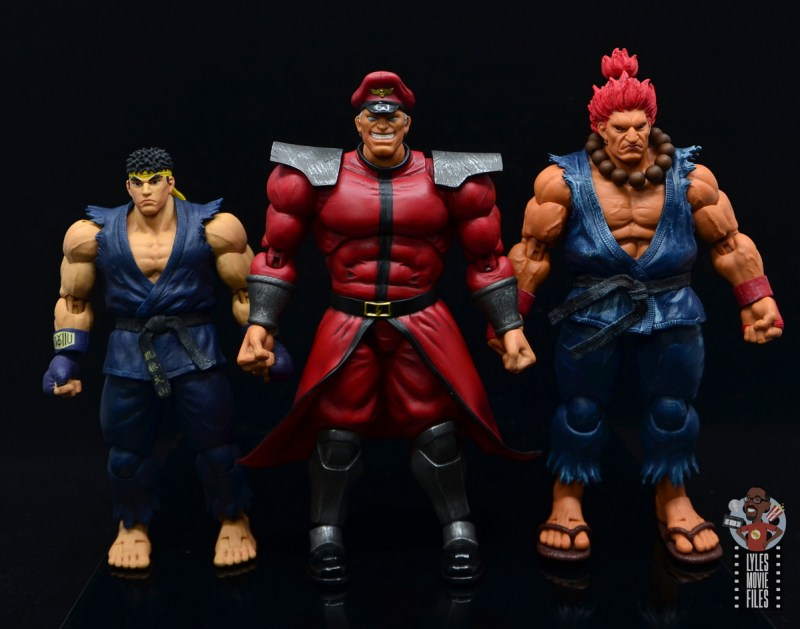 storm collectibles street fighter m. bison figure review - scale with ryu and akuma