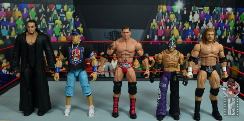 wwe elite hall of champions batista figure review - scale with the undertaker, john cena, rey mysterio and triple h