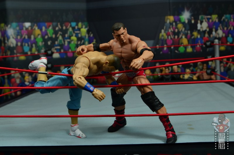 wwe elite hall of champions batista figure review - throwing john cena out of royal rumble