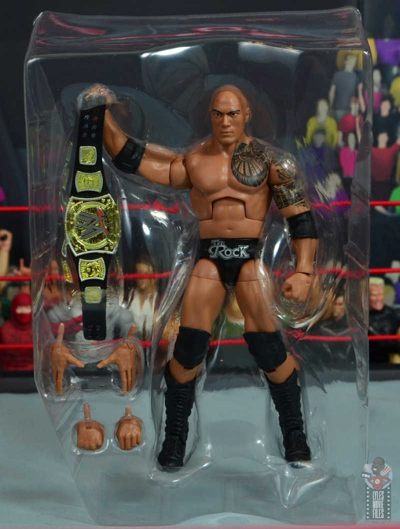 wwe elite royal rumble the rock figure review - accessories in tray