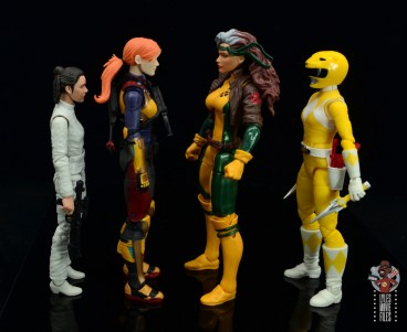 gi joe classified scarlett figure review - facing star wars black leia, marvel legends rogue and power rangers yellow ranger