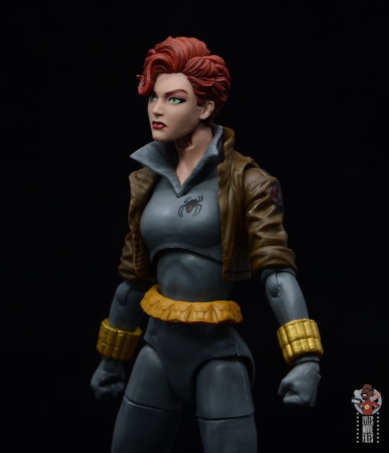 marvel legends black widow wal-mart exclusive figure review - close up left side
