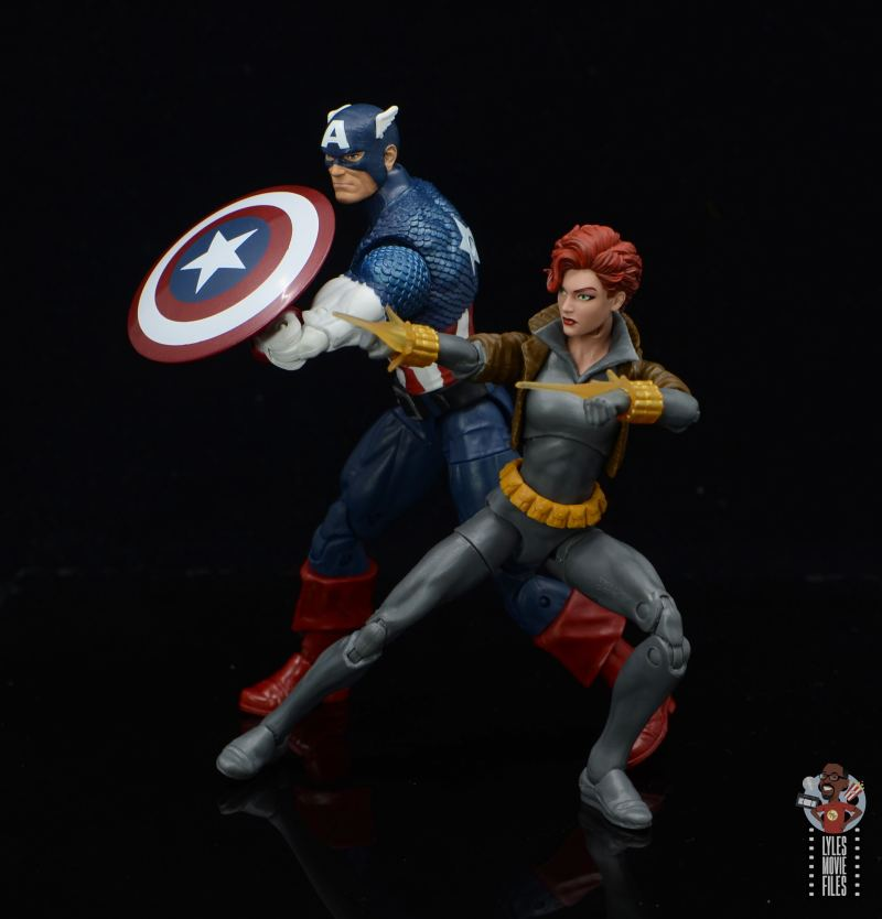 marvel legends black widow wal-mart exclusive figure review - into battle with captain america