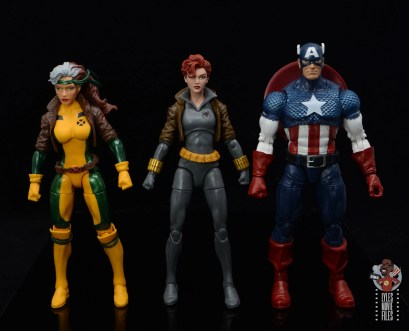 marvel legends black widow wal-mart exclusive figure review - scale with rogue and captain america