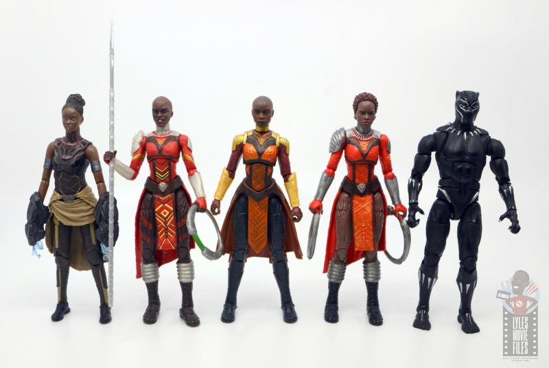 marvel legends build a figure okoye figure review -scale with shuri, ayo, nakia and black panther