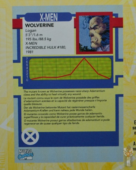 marvel legends cyclops, jean grey and wolverine set review - wolverine trading card