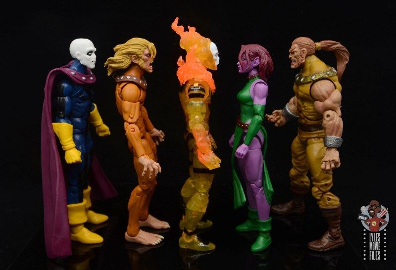 marvel legends age of apocalypse sunfire figure review - facing morph, wild child, blink and sabretooth
