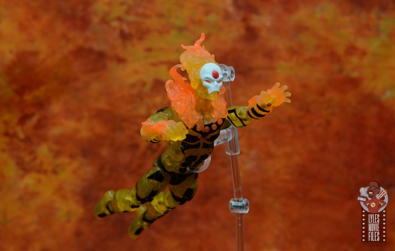 marvel legends age of apocalypse sunfire figure review - flying in flames