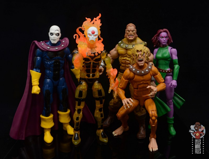 marvel legends age of apocalypse sunfire figure review - scale with morph, sabretooth, wild child and blink