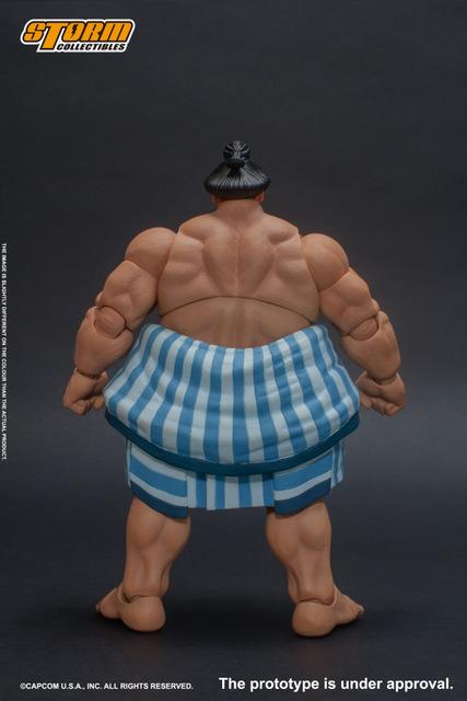 storm collectibles street fighter v - e. honda nostalgia costume figure - rear