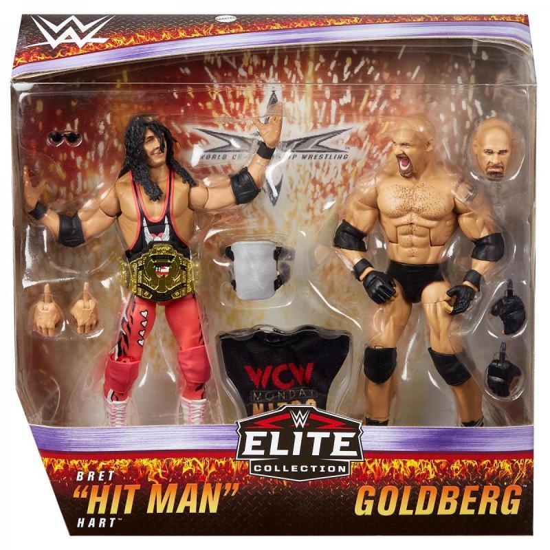 wwe elite bret hart vs goldberg set - package front