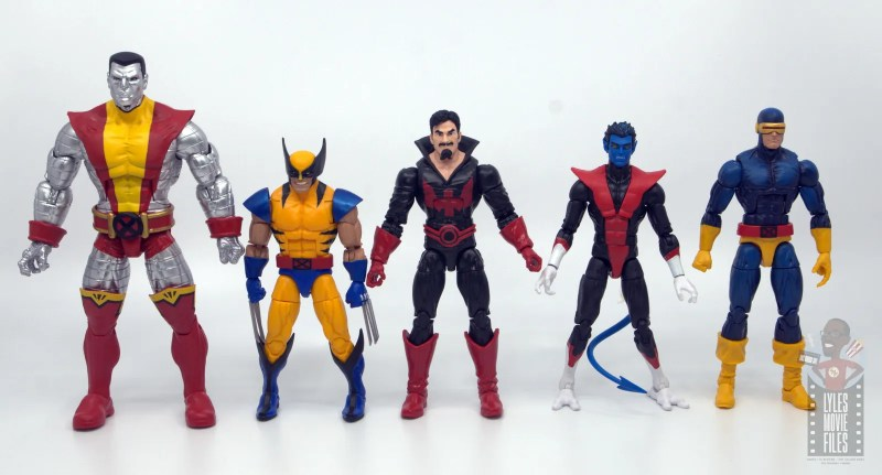 marvel legends black tom cassidy figure review - scale with colossus, wolverine, nightcrawler and cyclops
